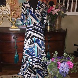 OLIVIA MATTHEWS ABSTRACT PEONT MAXI DRESS XL